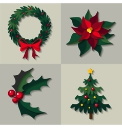 set of christmas floral decorations vector image