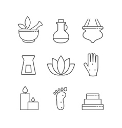 Set of linear outline alternative medicine and spa vector