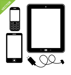 Smart phone mobile and tablet silhouette vector image vector image