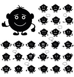 Smilies round set black vector image vector image