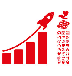 startup rocket bar chart icon with love bonus vector image