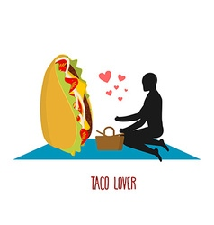 Taco lover Mexican food at picnic Rendezvous in vector image vector image