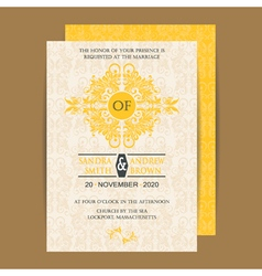 Wedding invitation yellow vector