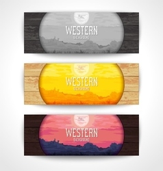 Western landscape banners vector image