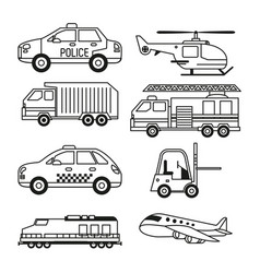 White background with monochrome set of vehicles vector