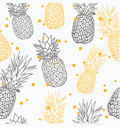 Yellow grey pineapple polka dot summer vector