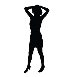 Young girl posing black silhouette vector