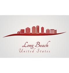 Long beach v2 skyline in red vector