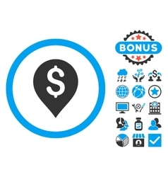Banking map marker flat icon with bonus vector