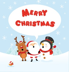 Santa snowman and reindeer celebrating christmas vector
