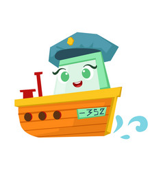 River patrol orange boat cute girly toy wooden vector