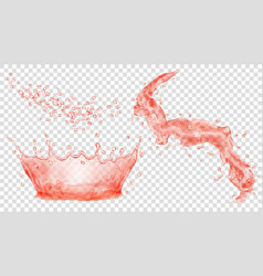 Red water crown drops and splash of water vector