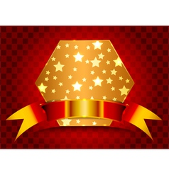 Hexagonal shield with gold stars vector