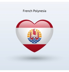 Love french polynesia symbol heart flag icon vector