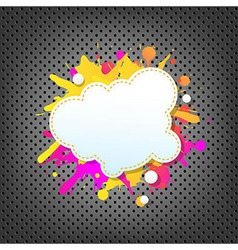 Metal background with color speech bubble vector
