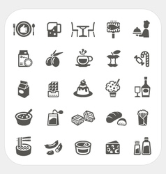 Food and dessert icons set vector