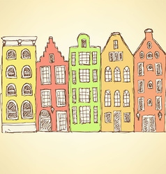 Sketch amsterdam hauses in vintage style vector