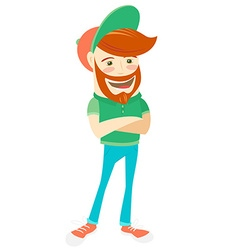 Hipster funny bearded man flat style vector