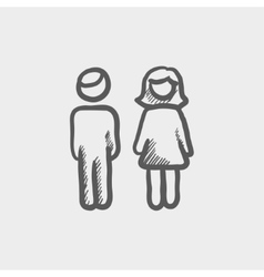 Male and female couple sketch icon vector