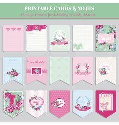 Vintage flowers card set - for birthday wedding vector