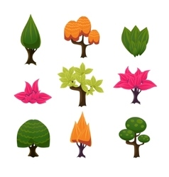 Cartoon trees leaves and bushes set vector