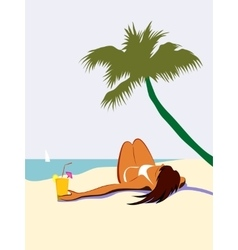 Sunbathing girl under palm tree vector