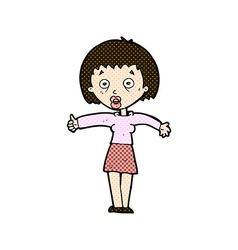 Comic cartoon amazed woman vector