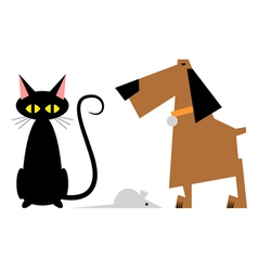 Figure cat dog and mouse vector