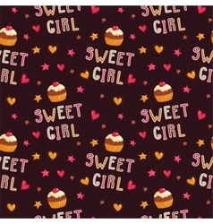 Cute seamless pattern with cupcakes vector