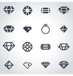Black diamond icon set vector