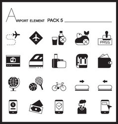 Airport element line icon set 5mono graph pack vector