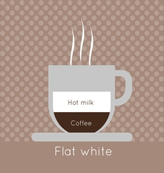 A cup of coffee with steam with hot milk vector image