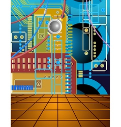 Background wall of the microcircuit and wires vector