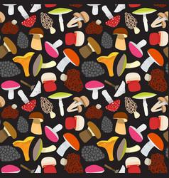 Cartoon mushrooms background pattern vector