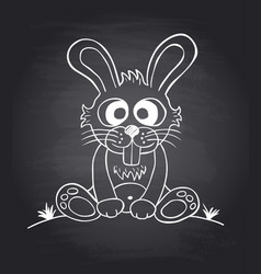 Chalkboard background with funny rabbit vector