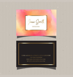 decorative watercolour business card design vector image vector image