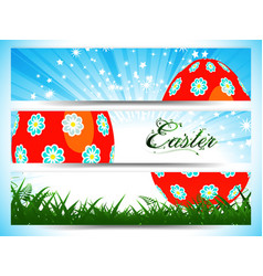 Easter decorated egg panels with floral text vector