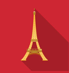 eiffel tower icon in flat style isolated on white vector image