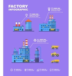 Factory set flat info graphic elements vector