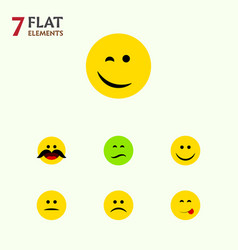 Flat icon face set of cheerful delicious food vector