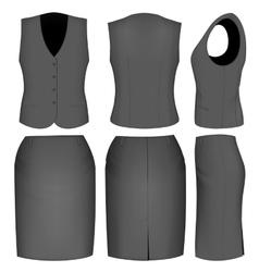 Formal black skirt suit for women vector