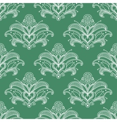 Green and white paisley seamless pattern vector