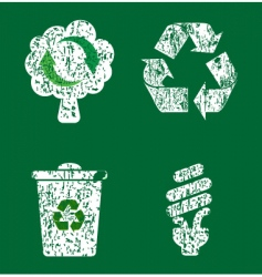 grunge recycle icons vector image