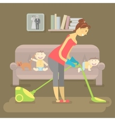Housewife vacuuming room vector