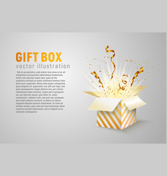 isolated open box with gold ribbons and confetti vector image vector image