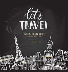 let s travel lettering quote typographic banner vector image