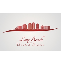 Long Beach V2 skyline in red vector image vector image
