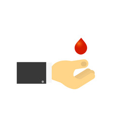 mans hand and a drop of blood charity giving vector image vector image