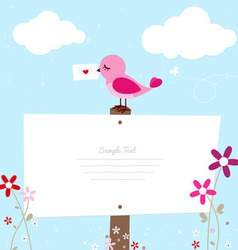 Pink bird with love letter vector image vector image