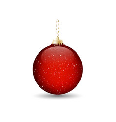 red christmas bauble with a gold chain design vector image